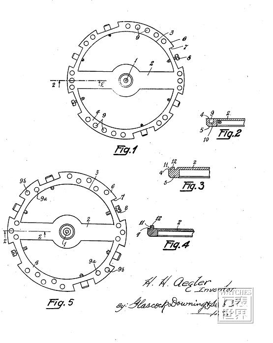 四、快慢针的技术创新 通过调整游丝长度控制摆轮震荡周期是很简单有效的,通过鹅颈固定的方式,也可以很好的解决游丝夹产生位移的问题。但因为快慢夹控制的游丝,在剧烈震动下很容易错位,而且不单纯是快慢夹,游丝外桩也会,这个东西的错位将会导 致手表偏摆。 这个方面近年也有技术革新克服。使用鹅颈微调快慢针的专家,德国格拉苏蒂,在2009年8月25日在德国慕尼黑申请了欧洲专利 EP2290477。这件专利对于快慢针固有的改变游丝外端圆弧曲线的问题,作出了突破性的改进。为游丝末端设计了一个套子,其中开了一个圆弧的槽,游丝