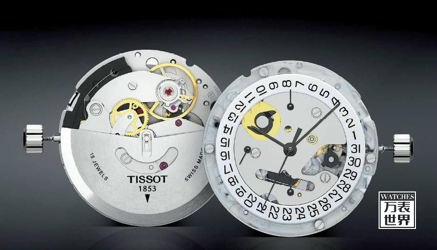 在调整好时间后,将天梭表表冠顺时针方向转动并推入