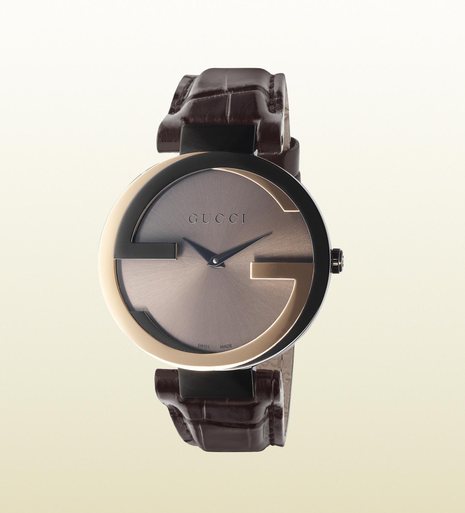 古驰interlocking系列 18k玫瑰金质女士手表