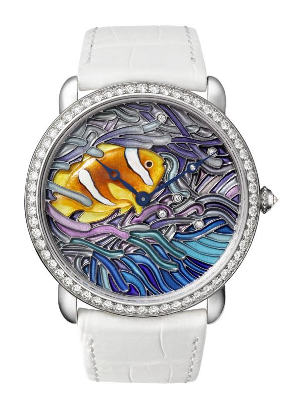 卡地亚半透明镂空珐琅小鱼装饰腕表