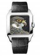 卡地亚Santos珐琅雕刻猎鹰装饰腕表