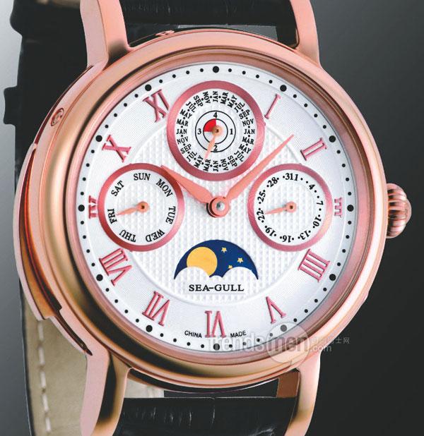 """海鸥st9250g玫瑰金陀飞轮,万年历,三问""""三合一""""手表,海鸥陀飞轮手表"""
