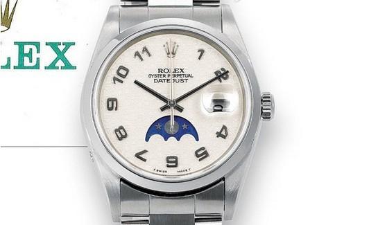 劳力士蚝式恒动日志型月相手表 少有的月相表