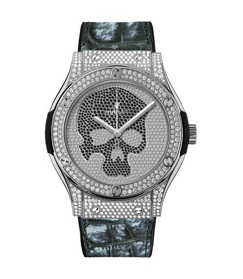 宇舶Skull骷髅满钻限量腕表钛金黑钻镶嵌款
