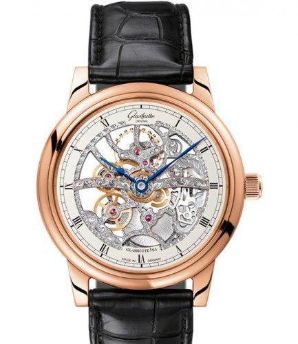格拉苏蒂手动上链镂空腕表,格拉苏蒂高超的制表技术优雅指示